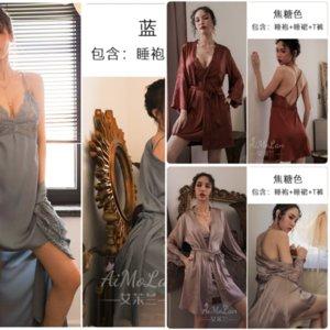 J9CN Nightdresses NightgownsampsLeePshirts Femmes Summer Habit Silk Silk Amoureux de bain Robe Faux Soie Bathrobe Peignoir de peignoir de peignoir de peignoir