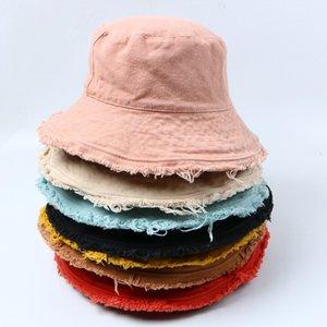 Los niños grandes de color sólido con flecos sombrero casquillo de alambre de aluminio suave lavado con agua forma de cubo salida A4699 sombrero cuenca de las mujeres de los pescadores