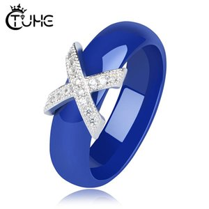 Hot X Cross Rings Blue Pink Ceramic Healthy Jewelry for Women 6mm Smooth Ceramic Rings Female Gift Wedding Jewelry Gold Silver