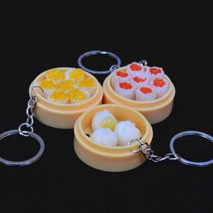 2x Simülasyon Gıda Anahtarlıklar Erişte Yaratıcı Anahtarlık Çin Steamed Bun Dumpling Mini Steamer Çanta kolye Anahtarlık