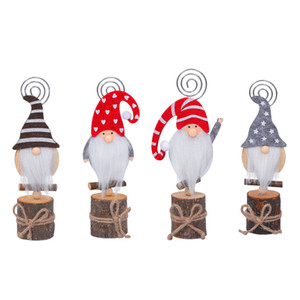 Christmas Decor Gnome Photo Clip Stand Wooden Table Number Name Place Card Holders For Wedding Party Sign JK2011XB