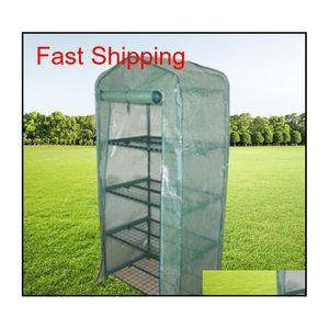 Garden Greenhouses 4 étagères Maison verte Tube de fer pliable avec couvercle en tissu en PE Greenhouse portable Mini ou QYLPVR BDE_LUCK