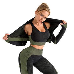 Chrleisure 3 PCS conjunto de yoga sin fisuras Mujeres Gimnasia Trajes de vestir Sport Ropa Ropa Fitness Deporte Bra Yoga Traje de manga larga Pantalones