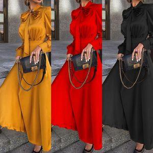 Azba Neue stilvolle Frauen Kleidung Kleider Mode Stand Casual Calf Sleeve Mid Long Dresses Kragen Neue 20ss Frauen Designer Designer
