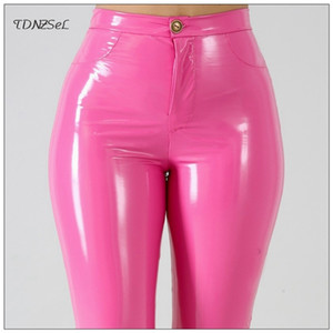Plus Big Size PU Faux Leggings Leggings Large Shiny Skinny Pants Pantaloni Donne Vita alta Liquido PVC Pantaloni da matita in lattice in PVC Y200114
