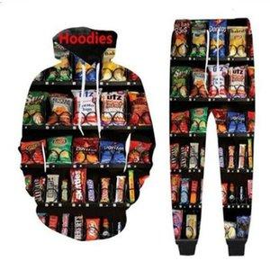 2020 New Men Womens Ams Vending Machine Snack Funny 3D Print Fashion Tracksuits Crewneck Hip Hop Hoodies + Pants TZ46