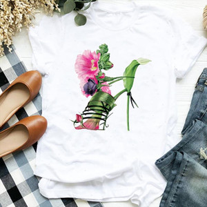 Floral High Heels Shoes Print T Shirt Women Short Sleeve O Neck Loose Tshirt Women Tee Shirt Tops Female Clothes Camisetas Mujer