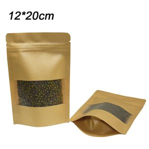 50pcs lot 12*20cm Stand Up Zip lock Food Storage Bags Heat Sealable Brown Kraft Paper Bag for Bulk Food Long Term Packgae with Window