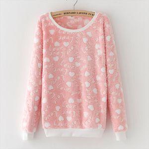 New arrival Fashion LOVE letter print Harajuku Christmas Hoodies Sweatshirts Women 2020 Winter Warm Flannel Sweatshirts Cashmere