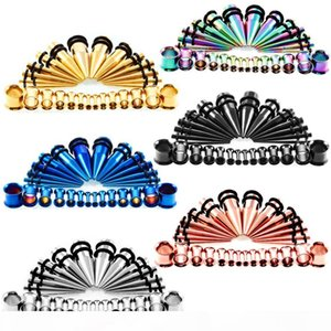 28pcs Acrylic Ear Taper With Plug Stretching Kit Flesh Tunnel Ear Gauges Stretcher Expander Body Piercing Jewelry 6 Color G86L