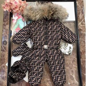 2020 Piumino invernale nuovo nato bambino copre il 90% di anatra ragazze dei neonati ispessimento Tute con pelliccia reale Snow Kids Suit