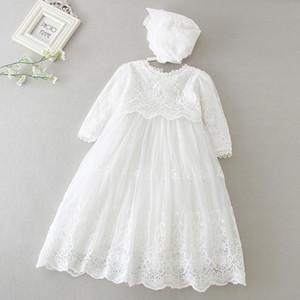 Hetiso bebê meninas vestido de manga comprida crianças primeiro aniversário vestido de baile vestidos infantis para o partido da dama de honra de Baptism 3-24 Mês 201204