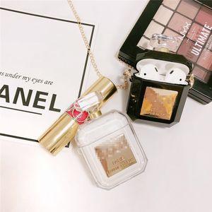 Чувствительная Luxury Perfume Bottle Защитная крышка для Airpods 1/2 силикона TPU мягкий чехол с ожерельем наушников держатель