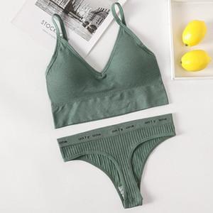 Mulheres Bra Calcinha Set Push Up Bra Sexy G-String Tanga Active Fitness Feminino Crop Top Sexy Underwear Lingerie Set
