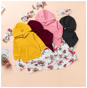 Baby Girls Pink Clothing Set solid Color Hoodie outfits Toddler Long Sleeve Tops + Flower Trouser headband 3Pcs Set clothes Kids Designer