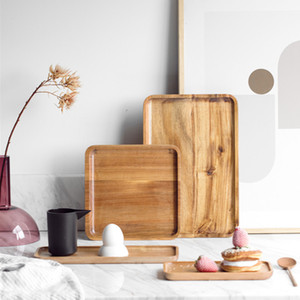 4 أنواع بسيط أكاسيا الخشب البليت بسيط علبة شاي شوى كعكة اللوحة المنزلية مطعم سكين شوكة لوحة طبق المائدة
