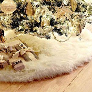Venda quente, 1pc Árvore de Natal Tapete Saia branca Base de Tapete capa para Decoração New Ye