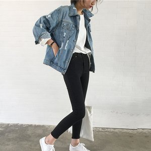 Hot Sale Korean Womens Denim Jackets Ladies Coat Motorcycle Style Tops Autumn Baggy Outerwear Female Plus Size Jean Jacket 201006