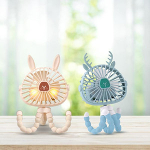 Mini Handheld Stroller Fan Personal Portable Baby Fan With Flexible Tripod Adjustable 3 Speeds Night Light USB Air Cooler