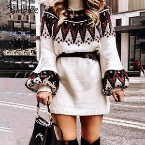 Simplee Geometric Print 니트 드레스 여성 캐주얼 거북이 넥 풀오버 스웨터 드레스 여성 가을 겨울 레트로 화이트 Vestidos Y200101