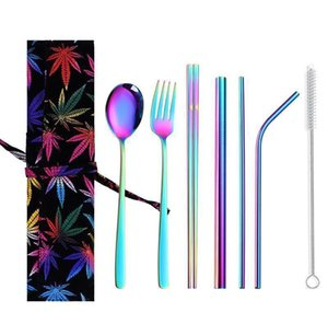 Stainless Steel Cutlery Sets Chopsticks Spoons Knife Straws Cleaning Brush Set Colorful Portable Reusable Dinnerware Set Iia173 bbyPCpQ