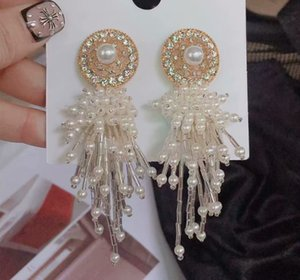 2 pairs lots wonderful low price high quality natural pearl tassels crystal diamond knot 925 silver lady's earings 15