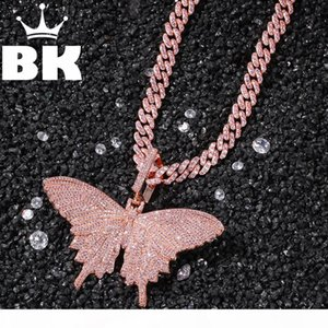 HIP HOP Custom Pink Butterfly Pendant Necklace Combination Words Name With Big Clasp Chain Full Iced Cubic Zirconia Jewelry