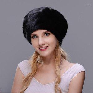 Jinbaosen Russische Winter und Luxus Mode Schwarz Dicke Warme Hohe Qualität Hut Weihnachten Pelz Hut Frauen Pelzmütze Volle Wild1