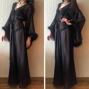 Смотреть сквозь черные первые одежды меховые одежды женские платья для фотосессии Boudoir белье халат ночная одежда Babydoll халат готов носить