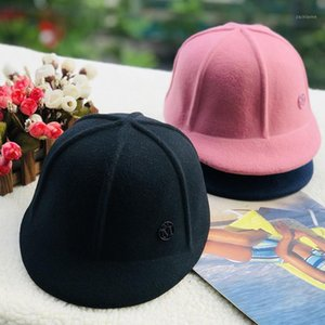 New style spring autumn season woollen baseball caps men women M letter Strip shape fashion sunblock visor hats Equestrian cap1