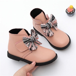 Girls inverno stivaletti Moda Boots Boots Boots Bow-nodo Cotton Princess Sweet Big Children Girl Shoes Shoes 3 Colors carino 201225