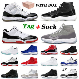 retro 11 11s Basketball-Schuhe MIT BOX 2021 Neuankömmling 25. Jahrestag Jumpman 11 Cool Grey Bred Low Wmns Concord 11s XI Space Jam Trainer 36-47
