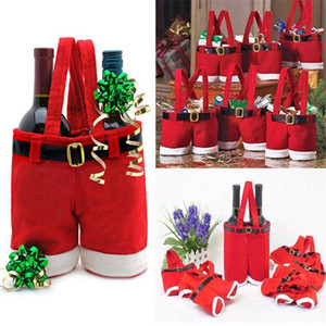 Cute 1Pcs Merry Christmas Gift Treat Candy Wine Bottle Holder Santa Claus Suspender Pants Trousers Decor Christmas Gift Bags