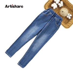 Slim Pencil Kids Elastic Waist Children's Autumn Fashion Jeans Pants For Girls 6 8 10 12 14 201207