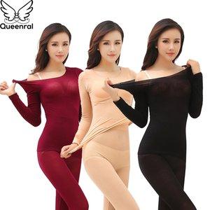 Queenral termal iç çamaşırı erkekler kadınlar uzun Johns kış ultra ince sorunsuz şekil zayıflama termal iç çamaşırı erkek kadın LJ201008