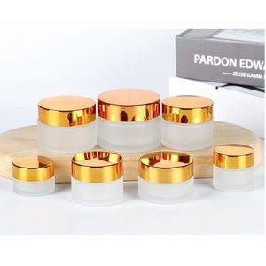Botella de crema cosmética de cristal transparente Tarros redondos de la botella con forros de PP interior para la broma de la cara de la mano de la mano 5g a 100g de plata de oro