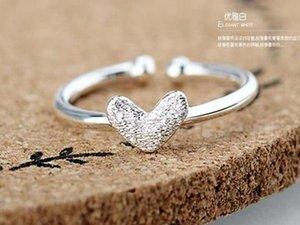 DHL livre Hot Sale Prata Anel de Prata Sterling Pure Símbolo do Coração Amor Pure Silver Adjustable Size