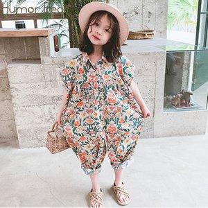 Humor Bear Girls Jumpsuit 2020 Summer Floral Girls Overalls Jumpsuit For Girl Harem Pants Korean Girls Palysuit Y200704