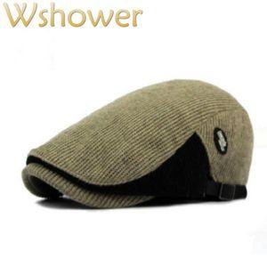 Which in shower Patchwork Knitted Berets Hat For Women Men Crochet Autumn Winter Duckbill Flat Cat Male Female Newsboy Cap Bone