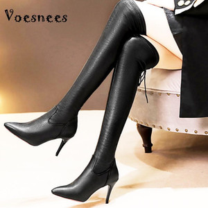 Voesnees Haut Bottes Femmes 2020 Nouveau hiver plus cachemire non-drop élastique haut talon 9cm Femme Noir Stiletto Plus Cuissardes
