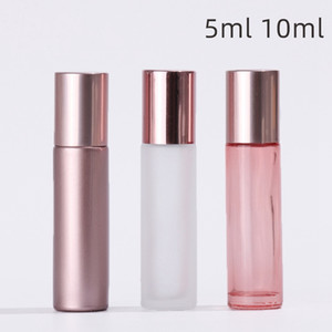 5 10ML Mini Roll On rouleau Bouteille parfum Bouteilles en verre or rose Essential bouteille d'huile en acier parfum Rouleau Ball Metal Container BC BH4198