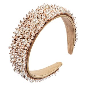 2021 New Fashion Women Hair Accessories Wide Side Headband Mix Pearls Hairband For Adult Center Headwear Wholesale 0663