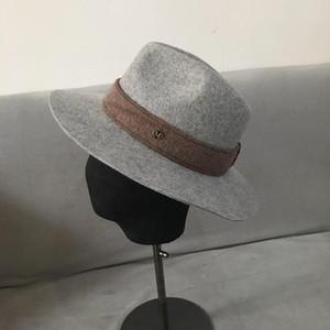 202009-naonao-jazz winter wool British style ribbon gray fedoras cap men women leisure panama jazz hat