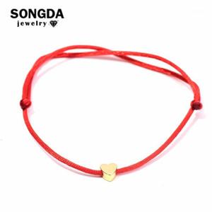 Songda Corazón lindo Hilo rojo String Brazalet Multicolor Cuerda Ajustable Amistad Pulseras Para Mujeres Niños Fábrica Outlets1