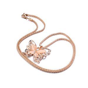 Catena d'oro Splendidamente collana moda rosa placcato oro placcato opale a farfalla pendente collana maglione catena regalo fascino farfalla collo 59 k2