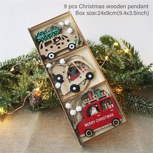 9pcs Car Wooden Pendants Tree Hanging Ornaments DIY Crafts Noel Christmas home Decoration Xmas Kids Gift new year
