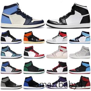 2021 New High Jumpman 1 1S OG 농구 신발 중순 시카고 로얄 발가락 금속 골드 소나무 녹색 검은 UNC 특허 남성 여성 스포츠 스니커즈