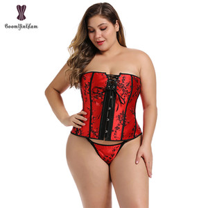 Plus Size Steampunk Gothic Bustiers And Corsets Waist Cincher Corset Red Shapewear Lace Up Boned Corselet For Women 839 X0123