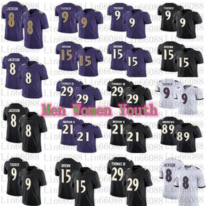 2020 Männer Frauen Jugend 8 Lamar Jackson 9 Justin Tucker Marquise Ingram II Earl Thomas Football Jersey