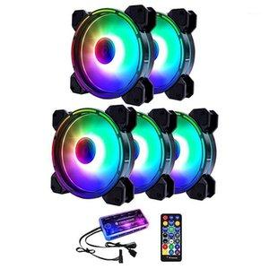 Вентиляторы Охлаждения Coolmoon RGB HASSIS Вентилятор, 12см бесшумный внутренний и внешний свет + музыкальный контроллер Настольный охлаждающий вентилятор CPU (5 шт.) 1